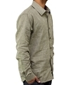Green striped mens hemp collared shirt