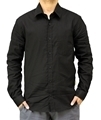 Black striped mens hemp collared shirt