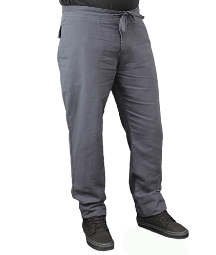 Steel slim fit mens hemp drawstring pants