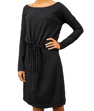 ladies black hemp and organic cotton dress