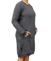 Ladies hemp and organic cotton fleece dress in steel colour
