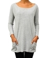 Ladies grey hemp and organic cotton top with pocket details