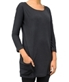 Ladies black hemp and organic cotton top with pocket details