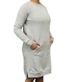 Ladies hemp and organic cotton fleece dress in grey colour