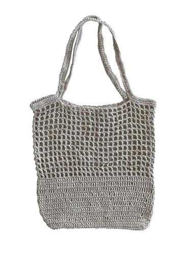 Plastic-free reusable shopper bag handmade from eco-friendly sustainable hemp twine