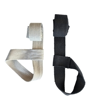 white hemp yoga strap folded up next to a folded black hemp yoga strap
