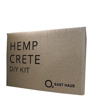 "box with the words ""hempcrete DIY kit"""
