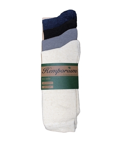 pack of four pairs of hemp socks including a pair in natural colour, black, grey and navy