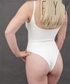 woman wearing white hemp bodysuit underwear