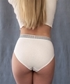 woman wearing white hemp underwear briefs