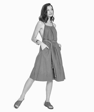 Woman wearing hemp dress