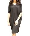 Woman wearing hemp oversize dress in black