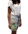 lady carrying products in the hemp twine net shopper bag
