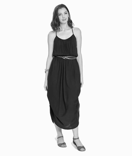 woman wearing black hemp dress