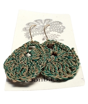 Moonbasket Hemp Twine Earrings Teal