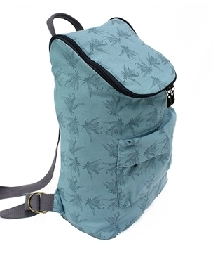 medium hemp backpack in blue with leaf print