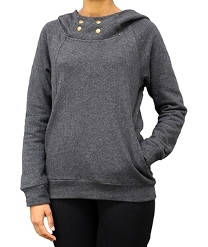 Cypress hemp hooded top in black melange