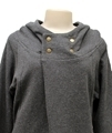 Ladies black melange hemp and organic cotton hooded top